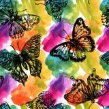 Όμορφο συρμένο χέρι άνευ ραφής σχέδιο watercolor Στοκ φωτογραφία με δικαίωμα ελεύθερης χρήσης