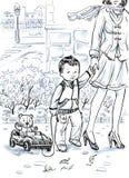 όμορφο σχέδιο κινούμενων σχεδίων ενός μικρού αγοριού και της μητέρας του που περπατούν κάτω από την πόλη οδών την άνοιξη Στοκ εικόνα με δικαίωμα ελεύθερης χρήσης