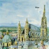Όμορφο σχέδιο ζωγραφικής πόλεων Wien στην πετσέτα Στοκ φωτογραφίες με δικαίωμα ελεύθερης χρήσης
