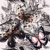 Όμορφο σχέδιο μόδας με τις πεταλούδες Στοκ φωτογραφία με δικαίωμα ελεύθερης χρήσης