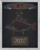 Όμορφο σχέδιο του ρόδινου σολομού Ψαράς με ένα σχέδιο του wh Στοκ Εικόνες