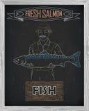 Όμορφο σχέδιο του σολομού Ψαράς με ένα σχέδιο του λευκού Στοκ Εικόνες