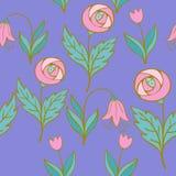 Όμορφο σύνολο λουλουδιών, διανυσματικό άνευ ραφής σχέδιο Στοκ Εικόνες