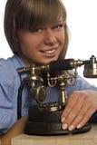 όμορφο τηλέφωνο κοριτσιών Στοκ εικόνα με δικαίωμα ελεύθερης χρήσης