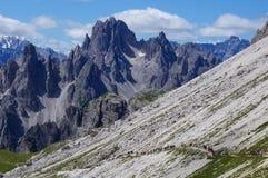 Όμορφο τοπίο και άνθρωποι βουνών που περπατούν στη γραμμή σε μια διαδρομή βουνών στοκ εικόνες