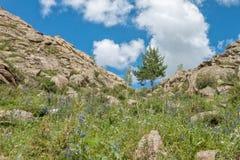 Όμορφο τοπίο, βράχοι και μπλε ουρανός βουνών με τα σύννεφα Στοκ φωτογραφία με δικαίωμα ελεύθερης χρήσης