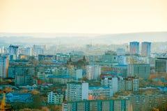 Όμορφο τοπίο ηλιοβασιλεμάτων του ρωσικού sity Σαράτοβ, Στοκ εικόνες με δικαίωμα ελεύθερης χρήσης