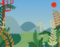 Όμορφο τοπίο θερινής φύσης με τα βουνά, λόφοι, τομέας, λιβάδι ελεύθερη απεικόνιση δικαιώματος