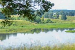 Όμορφο τοπίο θερινού νερού στην ηλιαχτίδα: και λιβάδια Στοκ Εικόνες