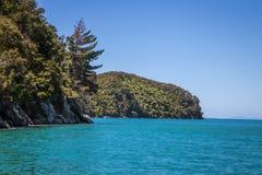 Όμορφο τοπίο με τον μπλε τυρκουάζ ωκεάνιο και σαφή ουρανό, Abel Tasman Στοκ Εικόνες