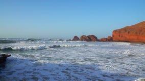 Όμορφο τοπίο με το ηλιοβασίλεμα ακτή του Ατλαντικού Ωκεανού, Μαρόκο, Αφρική, timelapse απόθεμα βίντεο