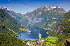 όμορφο τοπίο νορβηγικά φιορδ geiranger Νορβηγία Στοκ φωτογραφία με δικαίωμα ελεύθερης χρήσης