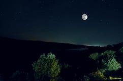 Όμορφο τοπίο νύχτας της μεγάλης πανσελήνου που αυξάνεται πέρα από το δρόμο βουνών με το λόφο και τα δέντρα Δάσος και βουνά του νό Στοκ φωτογραφία με δικαίωμα ελεύθερης χρήσης