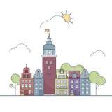 Όμορφο τοπίο πόλεων περιλήψεων Λίγη ζωηρόχρωμη πόλη στο ύφος κινούμενων σχεδίων διάνυσμα ασπίδων απεικόνισης 10 eps Στοκ Εικόνες