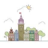 Όμορφο τοπίο πόλεων περιλήψεων Λίγη ζωηρόχρωμη πόλη στο ύφος κινούμενων σχεδίων διάνυσμα ασπίδων απεικόνισης 10 eps Στοκ Φωτογραφίες
