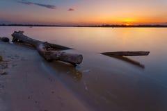 Όμορφο τοπίο σούρουπου με τη μεγάλη εμπλοκή στο νερό στην ακτή ποταμών στο πρώτο πλάνο exposure long Στοκ εικόνες με δικαίωμα ελεύθερης χρήσης
