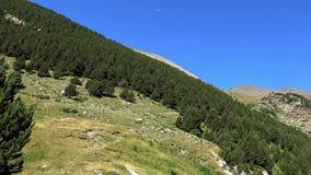 Όμορφο τοπίο στα Πυρηναία (Ισπανία) Vall de Nuria, κοιλάδα στο βουνό Πυρηναία απόθεμα βίντεο