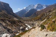 Όμορφο τοπίο της κοιλάδας Khumbu κοντά στο χωριό Thame, Himalay Στοκ φωτογραφία με δικαίωμα ελεύθερης χρήσης