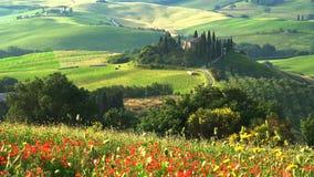 Όμορφο τοπίο του λοφώδους Tuscan τομέα απόθεμα βίντεο