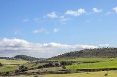 Όμορφο τοπίο των ευγενών λόφων και των τομέων συγκομιδών στοκ φωτογραφίες με δικαίωμα ελεύθερης χρήσης