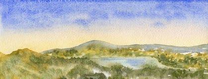Όμορφο τοπίο φθινοπώρου με το μπλε ουρανό, το βουνό και το δάσος Διανυσματική απεικόνιση