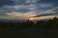 Όμορφο τοπίο φθινοπώρου στο ηλιοβασίλεμα στα βουνά στοκ εικόνες με δικαίωμα ελεύθερης χρήσης