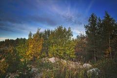 Όμορφο τοπίο φθινοπώρου στο ηλιοβασίλεμα στα βουνά στοκ εικόνες