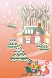 Όμορφο τοπίο Χριστουγέννων, santa για να παραδώσει τα δώρα στο έλκηθρο - διανυσματικό eps10 διανυσματική απεικόνιση