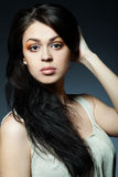 όμορφο τρίχωμα brunette μακρύ Στοκ φωτογραφίες με δικαίωμα ελεύθερης χρήσης