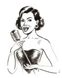 Όμορφο τραγούδι γυναικών Στοκ εικόνα με δικαίωμα ελεύθερης χρήσης