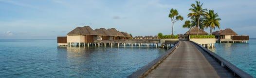 Όμορφο τροπικό πανόραμα παραλιών των bungalos με τη γέφυρα κοντά στον ωκεανό με τα δέντρα φοινικών στις Μαλδίβες Στοκ Φωτογραφίες