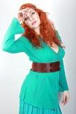 Όμορφο τυρκουάζ φόρεμα γυναικών Στοκ Εικόνα