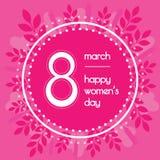 Όμορφο υπόβαθρο για την ημέρα των διεθνών γυναικών Ρόδινο χρώμα Floral στεφάνι των φύλλων Στοκ Εικόνες