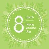 Όμορφο υπόβαθρο για την ημέρα των διεθνών γυναικών Χρώμα πρασινάδων Floral στεφάνι των φύλλων Στοκ φωτογραφία με δικαίωμα ελεύθερης χρήσης
