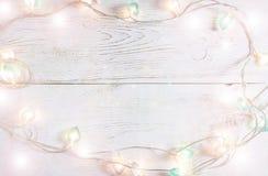 Όμορφο υπόβαθρο διακοπών Χριστουγέννων με τα μαλακά φω'τα Στοκ Εικόνες