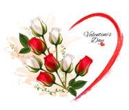 Όμορφο υπόβαθρο ημέρας του ευτυχούς βαλεντίνου με τα τριαντάφυλλα Στοκ Φωτογραφία
