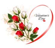 Όμορφο υπόβαθρο ημέρας του ευτυχούς βαλεντίνου με τα τριαντάφυλλα Στοκ Εικόνες