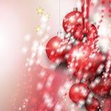 Όμορφο υπόβαθρο με τα κόκκινα μπιχλιμπίδια Χριστουγέννων Στοκ φωτογραφίες με δικαίωμα ελεύθερης χρήσης