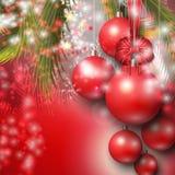 Όμορφο υπόβαθρο με τα κόκκινα μπιχλιμπίδια Χριστουγέννων απεικόνιση αποθεμάτων