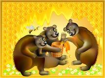 Όμορφο υπόβαθρο με την οικογένεια και τις κηρήθρες αρκούδων Διαφήμιση για το μέλι Στοκ Εικόνα