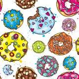 Όμορφο υπόβαθρο των ζωηρόχρωμων donuts Διανυσματική απεικόνιση για την κάρτα ή αφίσα, τυπωμένη ύλη στα ενδύματα Τρόφιμα και επιδό Στοκ Εικόνες