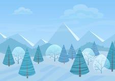 Όμορφο υπόβαθρο χειμερινών επίπεδο τοπίων Chrismas Δασικά ξύλα Χριστουγέννων με τα βουνά Νέο χειμερινό διάνυσμα έτους απεικόνιση αποθεμάτων