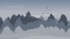 Όμορφο υπόβαθρο χειμερινών τοπίων με χρωματισμένα τα χειμώνας πουλιά δασών και ανόδου δέντρων πεύκων επίσης corel σύρετε το διάνυ απεικόνιση αποθεμάτων