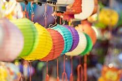 Όμορφο φανάρι με την εκλεκτική εστίαση στην κινεζική πόλη Στοκ Εικόνες