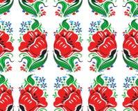 Όμορφο φανταστικό κόκκινο άνευ ραφής σχέδιο λουλουδιών Στοκ εικόνες με δικαίωμα ελεύθερης χρήσης