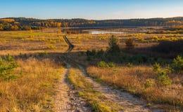 Όμορφο φθινοπωρινό τοπίο με το λιβάδι, τα δέντρα και το δρόμο Στοκ φωτογραφία με δικαίωμα ελεύθερης χρήσης