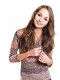 όμορφο φιλικό κορίτσι brunette στοκ εικόνες