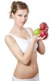 όμορφο φρέσκο κορίτσι μήλων Στοκ φωτογραφία με δικαίωμα ελεύθερης χρήσης