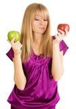 όμορφο φρέσκο κορίτσι μήλω Στοκ φωτογραφία με δικαίωμα ελεύθερης χρήσης