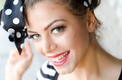 όμορφο φυσικό πορτρέτο κοριτσιών ματιών ομορφιάς makeup Στοκ Εικόνα